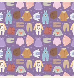 Baby clothes seamless pattern background vector
