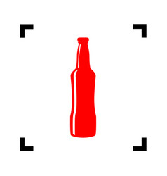 beer bottle sign red icon inside black vector image vector image