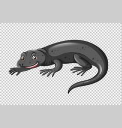 Black lizard on transparent background vector