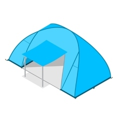 Blue camping tent vector