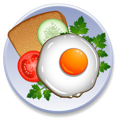 breakfast on the plate vector image