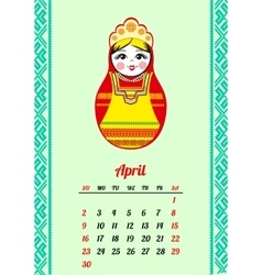 Calendar with nested dolls 2017 Matryoshka vector image