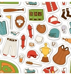 Cartoon baseball seamless pattern vector image vector image