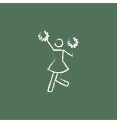 Cheerleader icon drawn in chalk vector