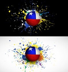 chile flag with soccer ball dash on colorful vector image vector image