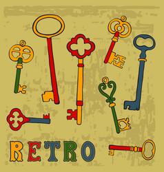 collection of hand drawn retro keys vector image vector image