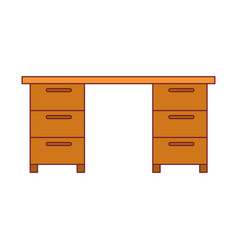 Colorful graphic of wooden office desk with dark vector