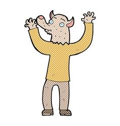 Comic cartoon happy werewolf man vector