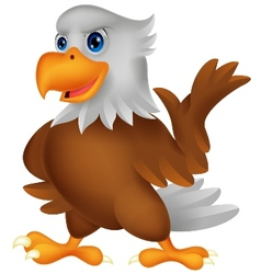 Cute eagle cartoon waving vector image
