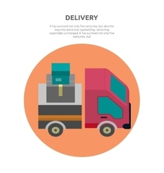 Delivery lorry driving fast design flat vector
