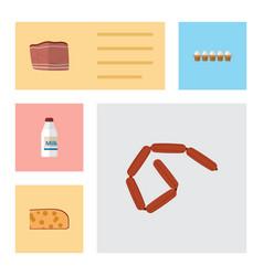 Flat icon eating set of eggshell box cheddar vector