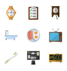 Flat icon lifestyle set of dental timer bureau vector