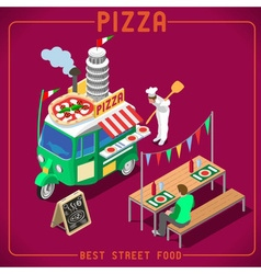 Food truck 05 vehicle isometric vector