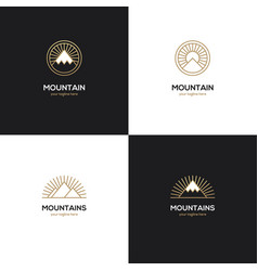 Four mountain logo in golden color vector