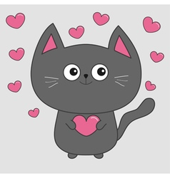 Gray contour cat holding pink heart set cute vector