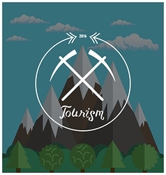 Hipster logo Summer camp concept with mountain vector image vector image