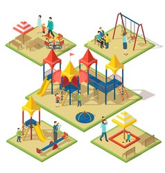isometric amusement area composition vector image vector image