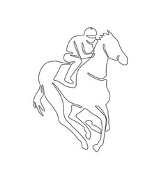 Jockey horse racing continuous line vector