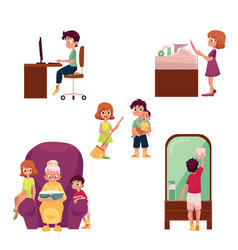 Kids children home activities doing chores vector