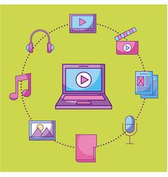 laptop video movie music social media multimedia vector image vector image
