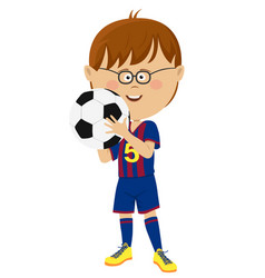 Little boy in uniform holding soccer ball isolated vector
