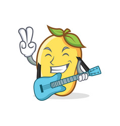 Mango character cartoon mascot with guitar vector