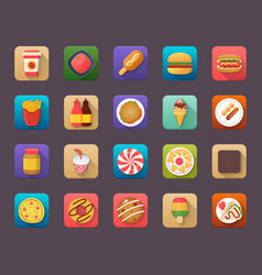 Pack of food elements flat icons vector