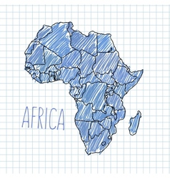 Pen hand drawn African map on paper vector image