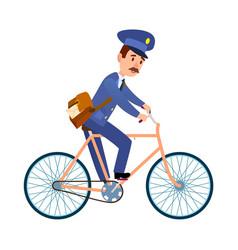 postman on bike delivering mail cartoon vector image vector image