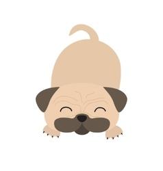 Pug dog mops cute cartoon character flat design vector
