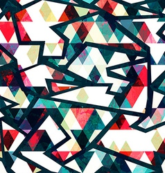 retro triangle seamless pattern grunge effect vector image