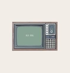 retro tv television sketch vector image vector image
