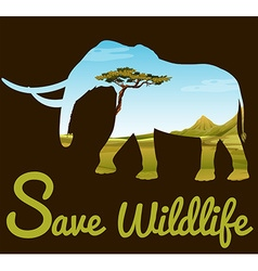 Save wildlife theme with elephant and field vector