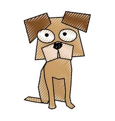 scribble funny doggy cartoon vector image