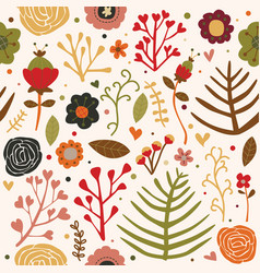 Seamless pattern flowers autumn fall color vector