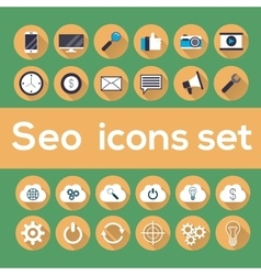 Seo icons set with longshadow vector