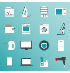 Set flat design icons of home appliances vector image