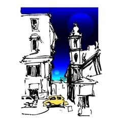Sketch drawing of rome italy landscape with two vector