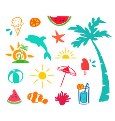 Summer hand drawn beach icon element set vector