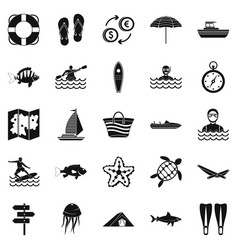 Tropical country icons set simple style vector