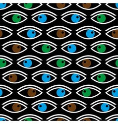 Various color eyes looking at you black seamless vector