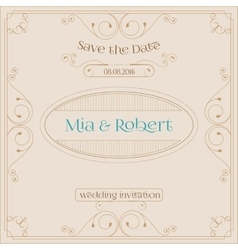 Wedding invitation card with floral ornaments vector