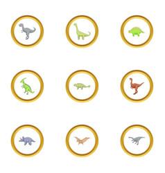 wild dinosaur icons set cartoon style vector image vector image