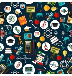 Physics sciense education flat seamless pattern vector