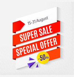 Big super sale special offer banner template 50 vector