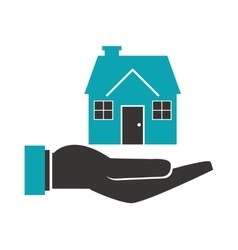 Shelter hand with house icon vector