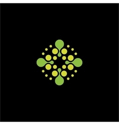 Isolated abstract green color dotted cross vector