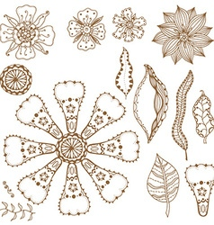 Floral and leafy icon set vector