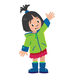 Funny little girl waving by hand vector