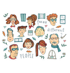 Hand drawn people faces collection vector
